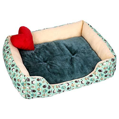 YYII Suministros para Mascotas Perros pequeños y medianos Invierno más Terciopelo Grueso Gato Mascota Nido búho Verde L
