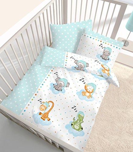"""Fein Biber Baby Kinder Bettwäsche """" Sleeping ZOO Stars """" Tiere & Sterne in mint, blau, grün - Größe 40x60 + 100 x 135 cm - hergestellt in Deutschland"""