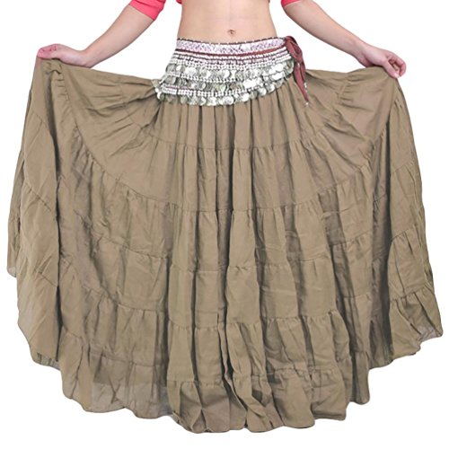 YiJee Danza del Vientre Falda Estilo Bohemio Larga Falda de la Mujer Caqui