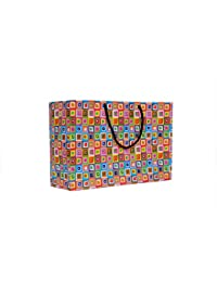 A&A Printed Laminated Paper Bag (Pack Of 10) Size - 8 * 12 * 4 Inch