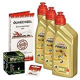 Ölwechselset Castrol Power1 10W-40 Öl + HiFlo Ölfilter für Honda CB 750 Four, Bj. 69-78 (Typ K0 K1 K2 K6 K7); Motoröl + Filter + Dichtring