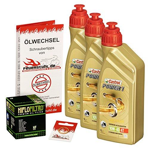 Castrol 10W-40 Öl + HiFlo Ölfilter für Kawasaki GPZ 900 R Ninja, 90-94, ZX900A - Ölwechselset inkl. Motoröl, Filter, Dichtring