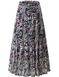 NASHALYLY Femme Longue Taille Haute Décontractée Plissée Maxi Ceinture Jupe 01a7ecf40ce7