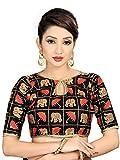 Spangel Fashion Elephant & Umbrella Black Red Embroidered Work Round Neck Women's Ready Made Saree's Blouse