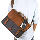 "Langforth 14 inch Laptop Satchel Messenger Bag Vintage Genuine Leather Canvas Briefcase 13""(L)x10.5""(H) x 4.1""(W) Grey"