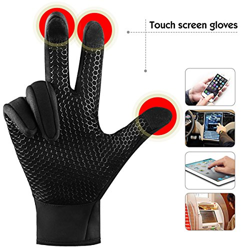 Touchscreen Handschuhe für Herren und Damen Winter Outdoor Winddicht Handschuhe mit Anti-rutsch Silikongel Warm Für Radfahren Skifahren Sports Smartphone/Tablet by Kungber – (XL, Schwarz) - 3