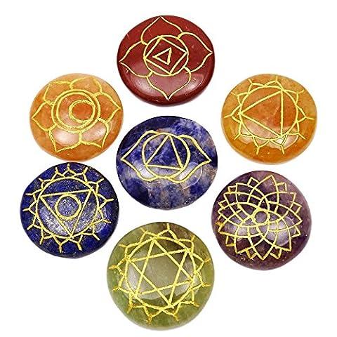Multi-Stein 7 Stück Set Reiki Chakra Symbol Gemstone Spiritual Tabelle Décor