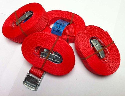 iapyx® 4 Spanngurte Zurrgurte 250 Kg 4 m Signalfarbe rot mit Klemmschloss Spanngurt Schnellspannung Befestigungsriemen