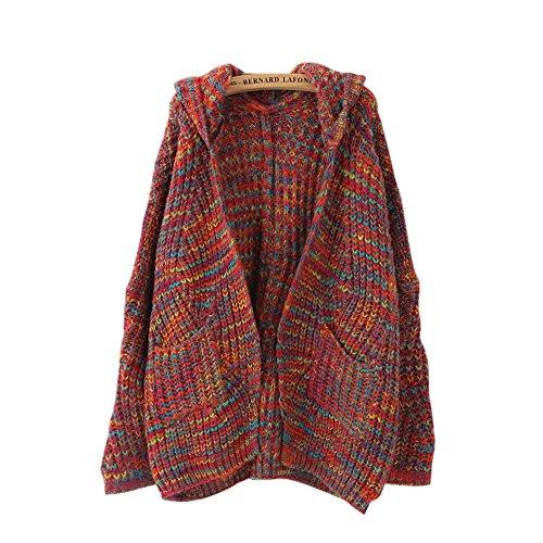 l Boho Bunte Kragenlos Stricken Jacke Langarm offener Mantel Cardigan mit Kapuze und Taschen (Damen Stricken Kleider)