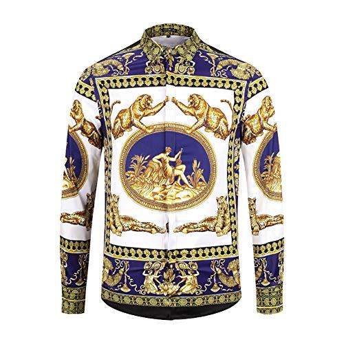 CHENS Camisa/Casual/Unisex/M Ropa Camisa de Manga Larga para Hombre con Estampado de Leopardo carácter Mitología Griega Hombre de Moda Club Nocturno de Ocio