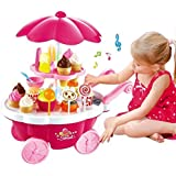 KAGVAD Kids Kitchen Cart Luxury Battery Operated Ice Cream Trolley Shop Set with Music and LED Lights (Multicolour, 3 Years)