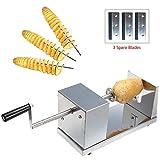 In acciaio inox Patate affettatrice Cutter Macchina di taglio patata a spirale per frutta e verdura