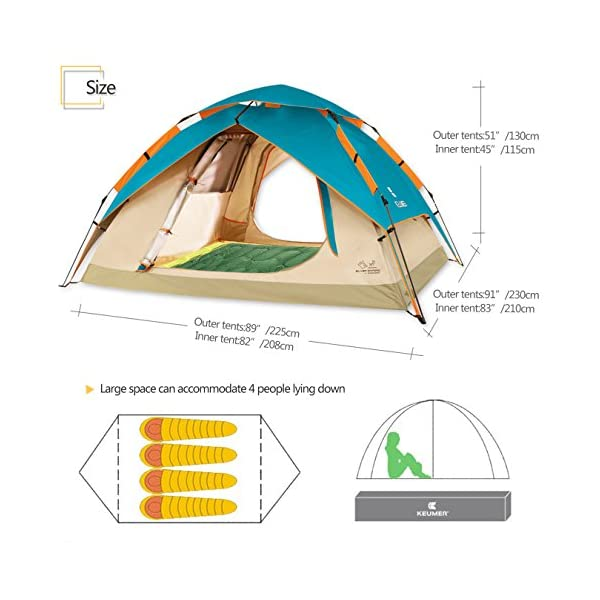 Four Seasons Tende da Trekking per Famiglie ZOMAKE Portatile Tenda Campeggio Impermeabile 2 Persone