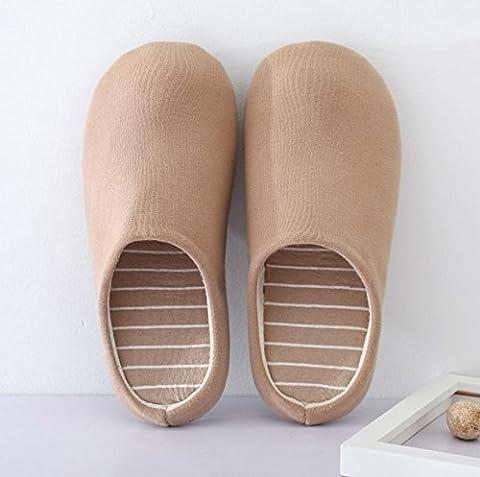 Men 's Home Chaussons d'intérieur non–Slip décontracté chaud Chaussons en coton, 1, petite