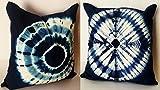 2 Pc Shibori pillow, 16x16 indigo pillow...