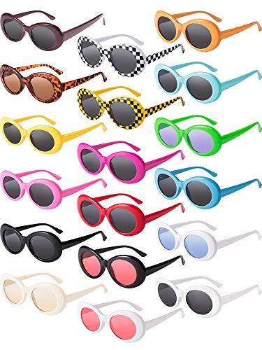18 Paar Retro Clout Oval Brille Mod Dicke Rahmen Punk Runde Linsen Sonnenbrille 18 Farben Damen Männer Mädchen Jungen Jugendliche Sonnenbrille