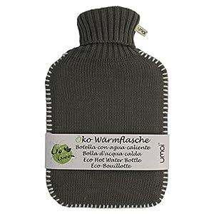 UMOI Öko Wärmflasche 2 Liter mit hübschem Strickmuster in Grau und weißen Nähten BS1970:2012 zertifiziert Modell 2018 (Grau)
