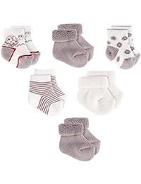 Jacobs Calcetines de recién nacido/Patucos bebé de algodón - Lote 6 pares (0-3 meses), Certificado Oeko-Tex Standard 100 - Color: Gris, Crudo
