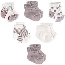 Baby Socken / Erstlings-Söckchen / Erstlingssocken - 6er Pack (0-3 Monate) Baumwolle, Schadstoffgeprüft - Ecru Grau