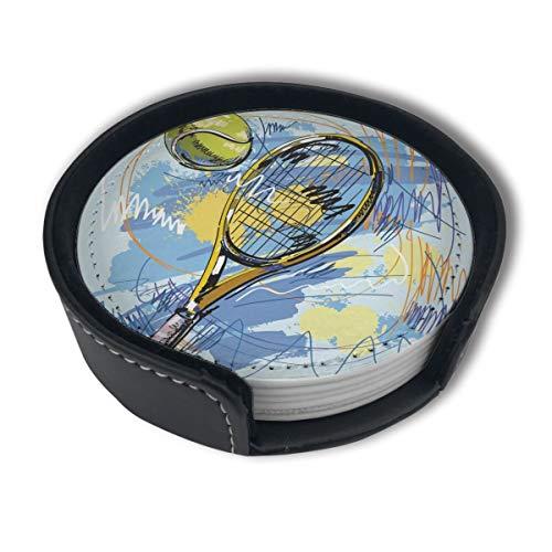 BJAMAJ Untersetzer, Tennisschläger und Ball, Premium-PU-Leder, rund, mit Halterungen, geeignet für Zuhause und Küche, 6 Stück