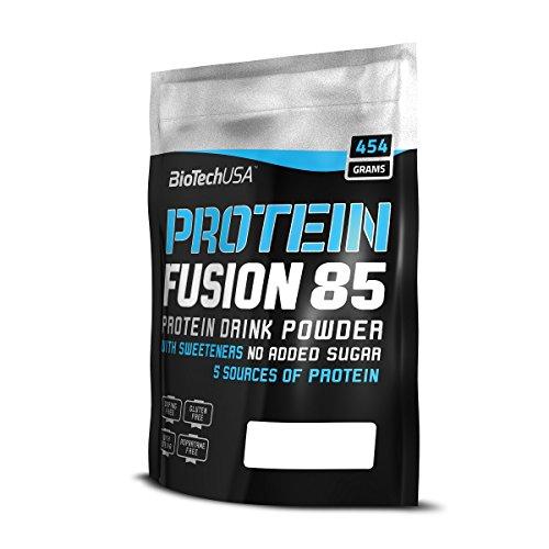Protein Fusion 85 Schokolade 454 g Beutel - Molkenproteinkonzentrat (WPC), Molkenproteinisolat (WPI), Milchproteinisolat, Kaseinprotein und Eiprotein - BiotechUSA