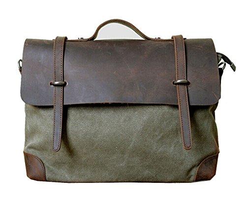 Borsa Vintage, Berchirly uomo e donna, in tela, borsa Messenger-Borsa in vera pelle Marrone marrone - Verde militare