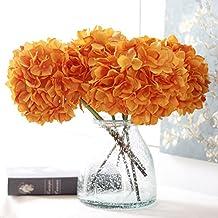 YSBER 3 Headramo Artificial flores de Hortensia Artificial flores boda ramo de celebrar flores parte jardín decoración de la mesa(Naranja)