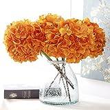 YSBER 3têtes Big Bouquet Fleurs Artificielles Hortensia Faux Fleurs Tenue de mariage Fleurs Bouquet Parti Décoration Table de jardin(Orange)...