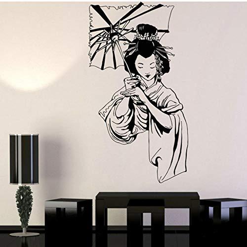 Adesivo murale ombrello ragazza adesivi stile asiatico vinile decorazioni per la casa adesivo rimovibile interno murale donna con ombrello