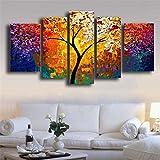 5partes cuadros abstractos pintadas a mano pinturas óleo sobre lienzo decoración pared pintura decorativa imagen moderna pintura de techo, diseño de árbol, multicolor Bona Vida Sin Marco