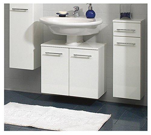 PELIPAL Badmöbel MINIMO - Waschbecken-Unterschrank 55 cm, 2-türig, Syphonausschnitt, weiß Hochglanz