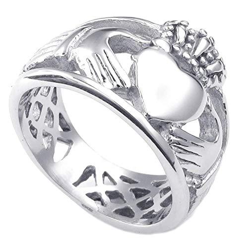 YEBENI Frauen der Männer Edelstahl Ring, Claddagh Herz Kronen Wedding Band, (Männer Claddagh-ring Frauen Und)