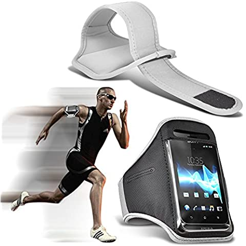( White 146 x 72.5 ) ZTE Blade V7 case High Quality Fitted Sports Armbands Running Bike Cycling Gym Jogging Ridding Arm Band case cover by i-Tronixs