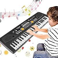 WOSTOO Teclado Electrónico Piano 49 Teclas, Teclado de Piano Portátil con Micrófono Teclado portátil Regalo