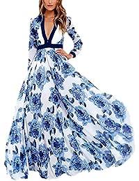 26bd76e9d9393 Vestito Lungo Estivo Donna Elegante Moda Prom Dress V Profondo Manica Chic  Ragazza Lunga Gonna A Ruota Vestiti…