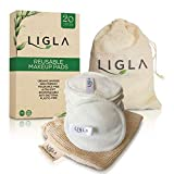 Reusable Make Up Remover Pads - 20 Bamboo Cotton Pads with Laundry and Storage Bags - Washable and Eco-Friendly Eye Makeup Remover Pads - Reusable Cotton Wool Pads For All Skin Types By LIGLA