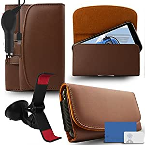 iTALKonline Samsung Galaxy E7 SM-E700 Brown PREMIUM PU Leather horizontal Executive Side Pouch Case Cover Holster with Belt Loop Clip and Magnetic Closure and 1000 mAh Coiled In Car Charger LED Indicator and Overload Protection