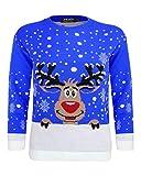 Maglione lavorato a maglia, con motivo di Rudolf, la renna di Natale, per bambini e bambine dai 2ai14 anni Royal Blue 3-4 Anni