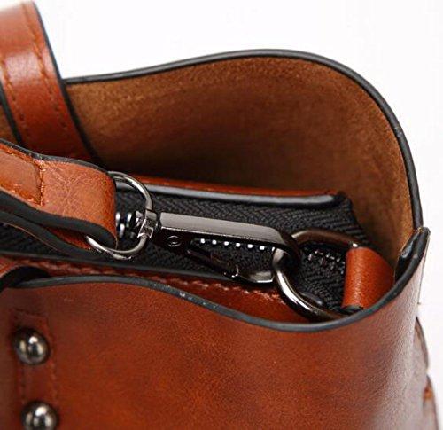 Damen-Mode Retro-Öl-Haut Große Kapazität Schultertasche Handtasche Kuriertasche Einfache Atmosphäre Brown