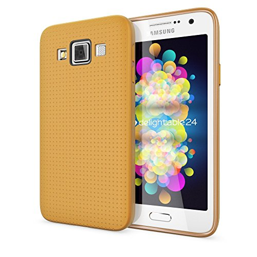 Samsung Galaxy A3 2015 Hülle Handyhülle von NICA, Ultra-Slim Case Softcover, Dünne Punkte Schutzhülle, Etui Handy-Tasche Back-Cover Bumper, TPU Silikon-Hülle für Samsung A3 2015 - Mesh Champagner Gold (Champagner-mesh)