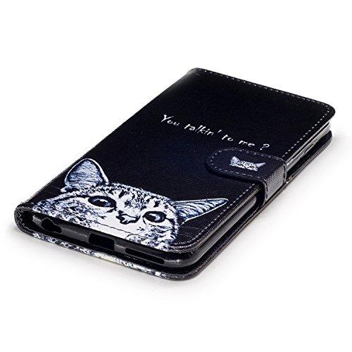 BtDuck Specializzato progettato per Signora Donne Carino Custodia Pelle per iPhone 6 Plus/6S Plus 5.5,BtDuck Ultra Sottile Creativo PU Pelle Borsa e Portafoglio Tasca Libro Stand Case Cover Morbido Si 6 Plus/6S Plus 5.5-Gatto Nero
