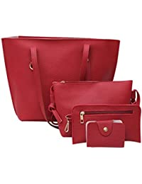 Bolso, Manadlian 4 piezas Bolso de hombro de cuero para mujer Patrón de Litchi + Bolso Crossbody + Bolso + Billetera (33cm(L)*27(H)*13cm(W), Rojo)