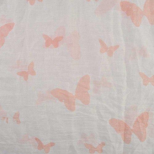 Imprimé Papillon haute qualité extra grand col/écharpe châle 100%  coton Jaune - Crème