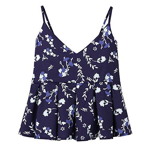 WWricotta Damen Weste Drucken ärmelloses Tank Top Women Casual Printing Sleeveless Crop Tank Top Vest Shirt Blouse Cami Tops -