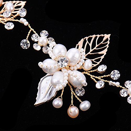 Haarschmuck von Oshide Blättern und Blumen Weiß Perlengirlande mit Strass Braut Braut Haarschmuck - 6