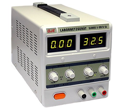 Komerci Labornetzgerät Netzteil Stromversorgung Transformator QJ3005E-PK 0-30V, 0-5A, passive Kühlung ohne Lüfter, Grau -
