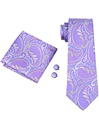 Mens Silk Paisley Striped Check Floral 100% Silk Woven Neck Tie , Pocket Square Hanky Cufflink Set