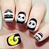Aukmla unghie finte breve 24 pz Hallween unghie artificiali Full Cover Skull Yellow Moon Nails accessori