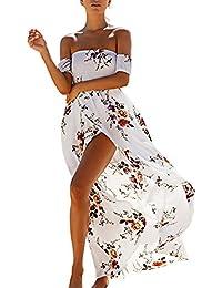 Donna Vestiti Lunghi Eleganti Estivi Moda Lungo Vestito Moda Giovane Spalla  Nuda Floreale Spiaggia Maxi Abito 0f4535bbebf