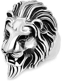 4338ed28f0ef AnaZoz Joyería de Moda Anillo de Hombre Acero Inoxidable Forma Cabeza León  Anillo Para Hombre Color Negro Plata…
